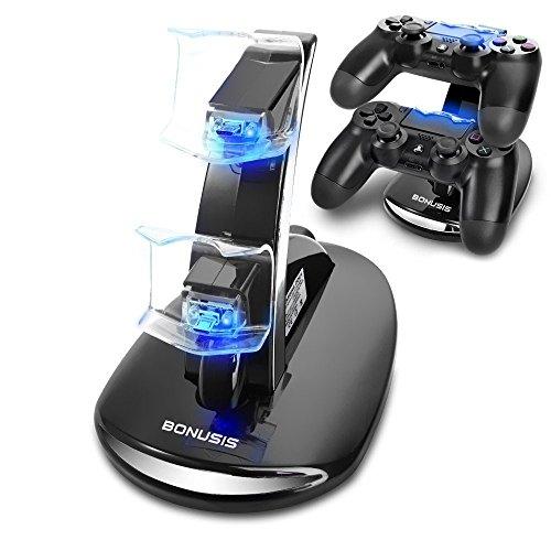 PS4 콘트롤러 충전 스탠드 PS4게임 패드 급속 충전 스탠드-더블USB동시에 충전,LED표시 부착 더블 충전 홀더,Sony PS4게임 패드+Mini USB충전 케이블(블랙)에 적용한다