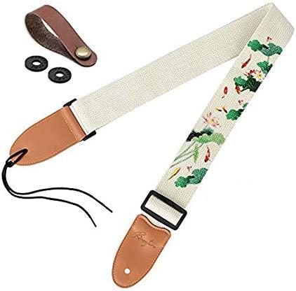 Guitar Strap Vintage Tweed 100% Cotton & Genuine Leather Ends Shoulder Strap For Bass, Electric & Acoustic Guitars (Lotus)