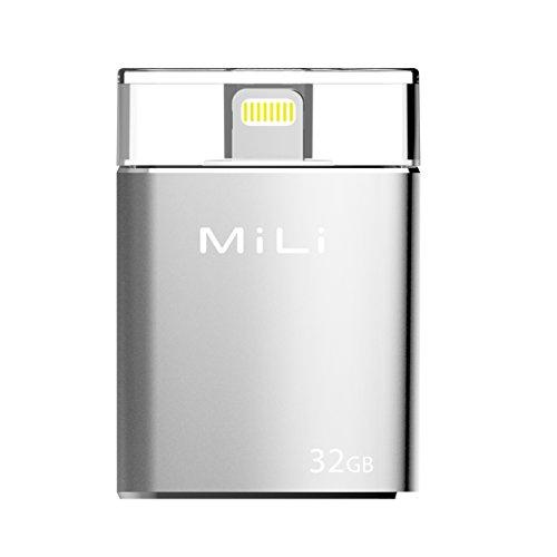 MiLi USB Flash Drive Apple MFi Certified iData 32GB Portable Storage USB Flash Drive Specialized for iPhone 6/6 plus/5/5s/5c/ipad 4/ipad Mini/i Mac/iPod with Lightning Device - Silver