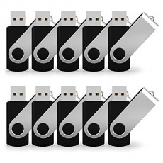 JUANWE 50 Pack 8GB USB Flash Drive USB 2.0 Thumb Drives Jump Drive Fold Storage Memory Stick Swivel Design - Black