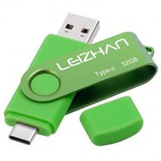 leizhan Type C Flash Drive 64GB USB 3.0 Memory Stick for Samsung Galaxy S10S9 Note 9 S8 S8 Plus XiaoMi 6 Google Pixel XL tipo c Memoria USB Green