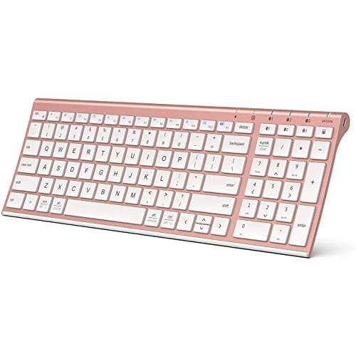 무선마우스 iClever Bluetooth Keyboard Multi Device Keyboard Rechargeable Bluetooth 5.1 with Number Pad Ergonomic Design Full Size Stable Connection White Keyboard for iOS Android Windows