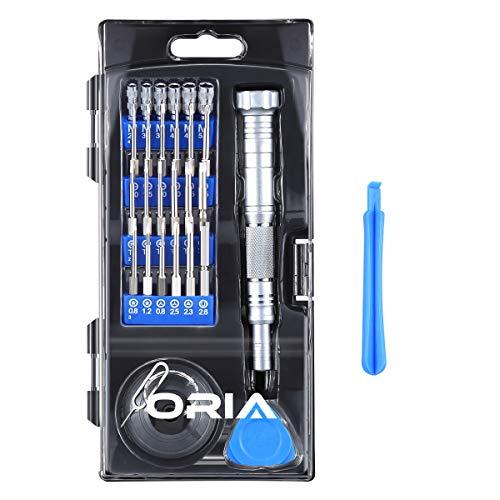 노트북 태블릿 핸드폰 공구세트 ORIA Screwdriver Set Long Precision Screwdriver Kit 30 in 1 Magnetic Repair Tool Kit with 24 Bits 45mm Long Bits for Depth Hole Working Aluminum Alloy Handle for Smartphone Computer Tablet Blue