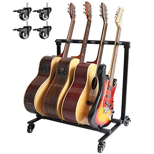 Folding Multi- Guitar Rolling Stand 5 Multiple Instrument Floor Stand Guitar Display Rack Holder Stand Accessories for Home or Studio - Portable Storage Organization Stand (B)
