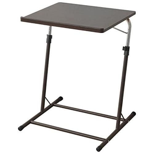 [야마젠] 승강식 싸이드 테이블 폭55×(길이)깊이46-51×높이60.5-84cm (책상이나 카운터의) 널찍하고 평평한 윗부분의 각도를 조절 할 수 있는 넘쳐 흐름금지 접이식 조립품 암갈색/브라운 MDT-5040(DBR/BR) 재택 근무