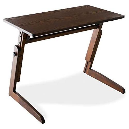LOWYA 로 자 테이블 6단계 승강 테이블 신축 싸이드 테이블 데스크 콤팩트 브라운