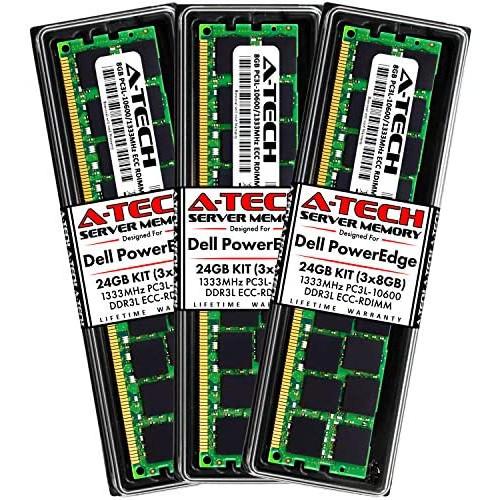 A-Tech 24GB (3x8GB) RAM for Dell PowerEdge M610, M710, M710HD, M915 Servers | DDR3 1333MHz ECC-RDIMM PC3L-10600 2Rx4 1.35V 240-Pin ECC Registered DIMM Server Memory Upgrade Kit