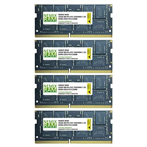 128GB Kit 4x32GB DDR4-2933 PC4-23400 ECC SODIMM 2Rx8 Memory by Nemix Ram